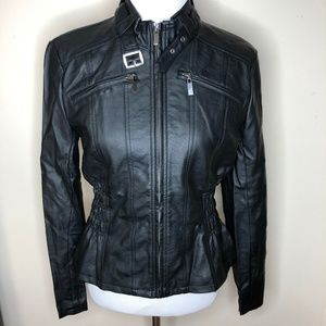 New York & Company Faux Leather Black Moto Jacket